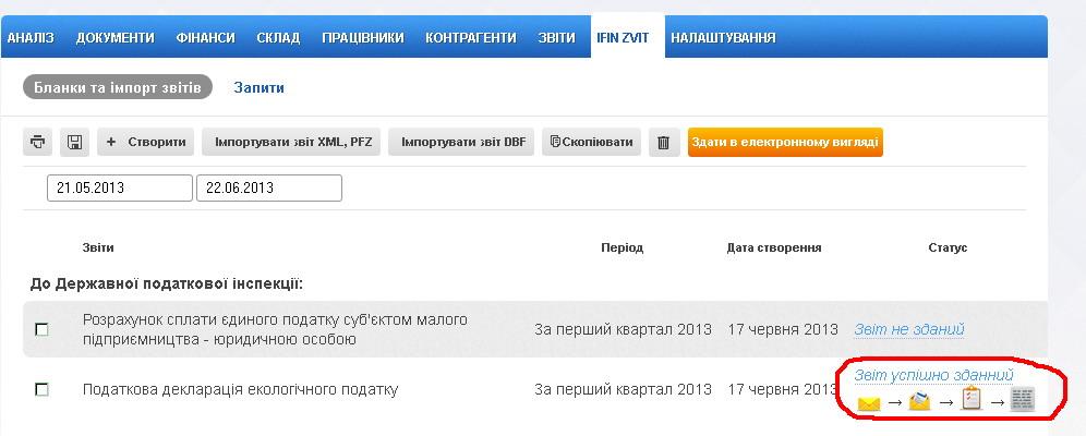 iFin, статусы отправки отчетов